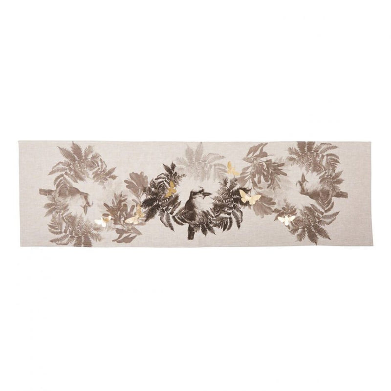 Kooka Fern Table Runner Black Gold