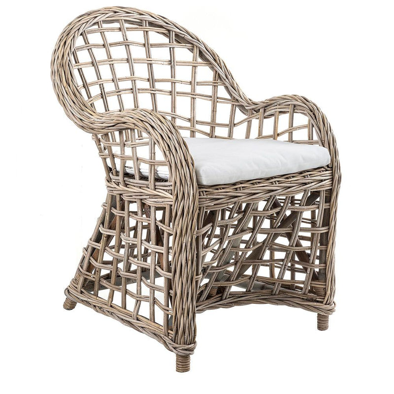 MAURITIUS WICKER ARM CHAIR WITH CUSHION