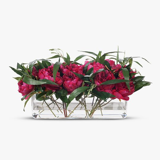 Peony Ruellia Mix in Rectangle Vase