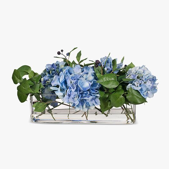 Blue Hydrangea Mix in Rectangle Vase