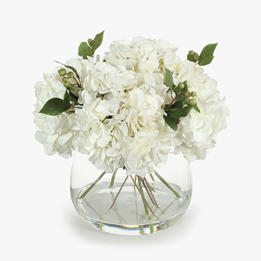 White Hydrangea Mix in Vase