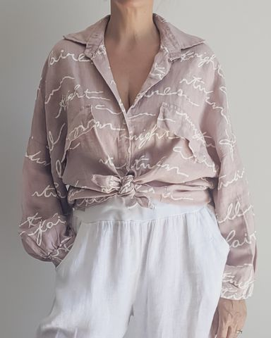 Claudia Linen Top in Rose