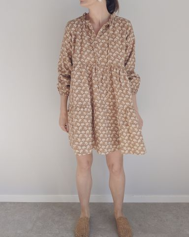 Kayla Linen Dress in Caramel Floral