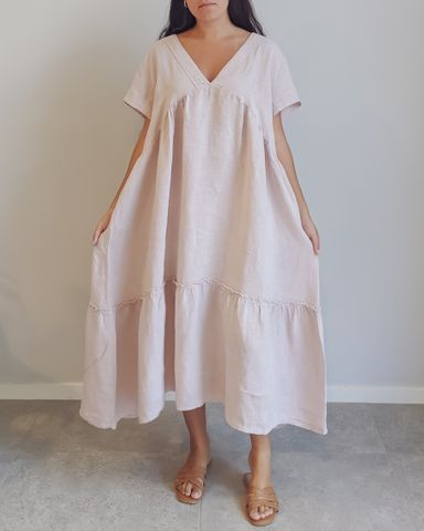 Raydan Linen Dress in Rose