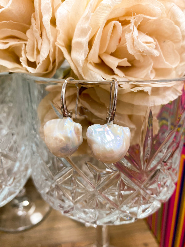 Caroline Large Drop Pearl Earrings