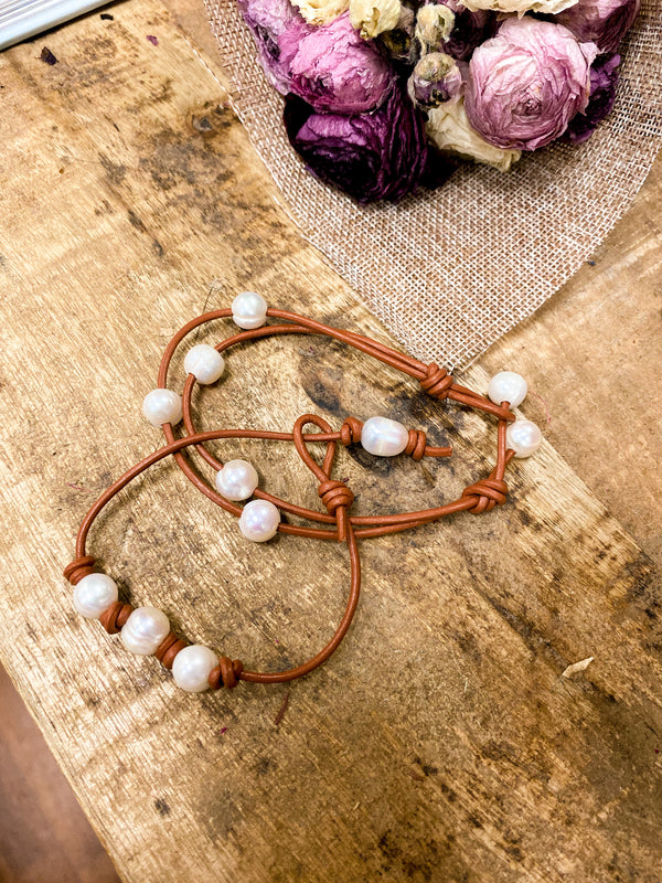 Meryl Double Strand Leather & Pearl Bracelet