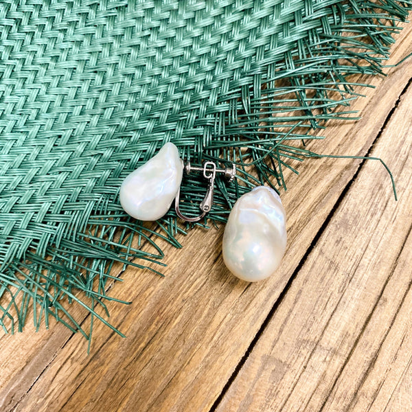 Caroline Large Pearl Clip On Earrings