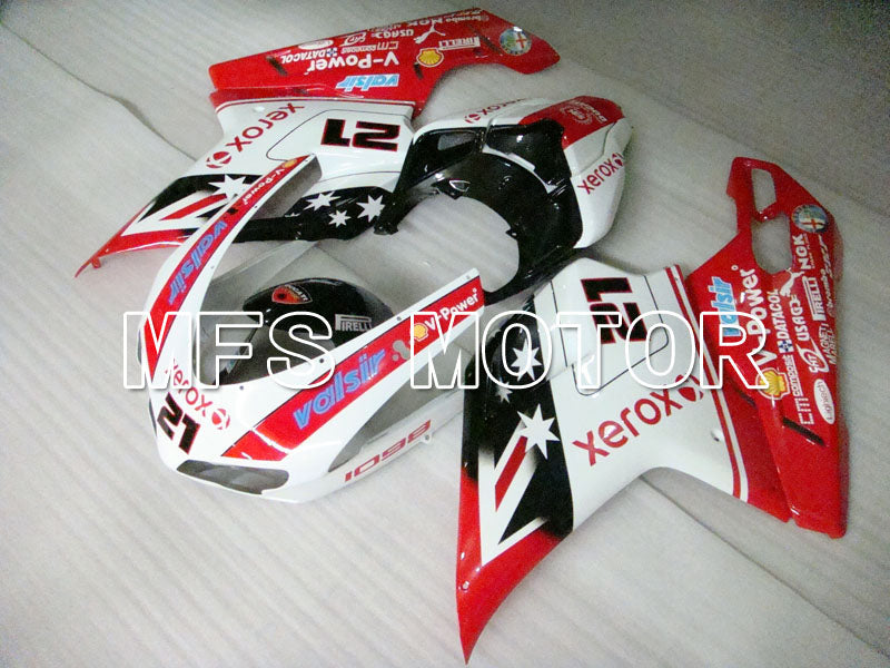 Injection ABS Fairing For Ducati 848 / 1098 / 1198 2007-2011 - Xerox - Rødhvitt - MFS4098 - shopping og engros