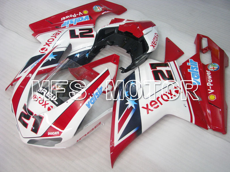 Injection ABS Fairing For Ducati 848 / 1098 / 1198 2007-2011 - Xerox - Rødhvitt - MFS4109 - shopping og engros