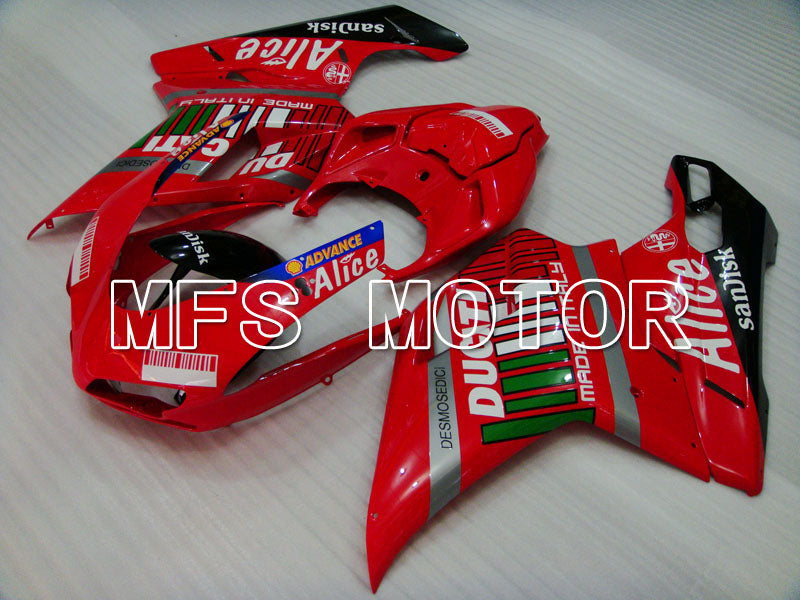 Injection ABS Fairing For Ducati 848 / 1098 / 1198 2007-2011 - Alice - Rød Svart - MFS4113 - Shopping og engros