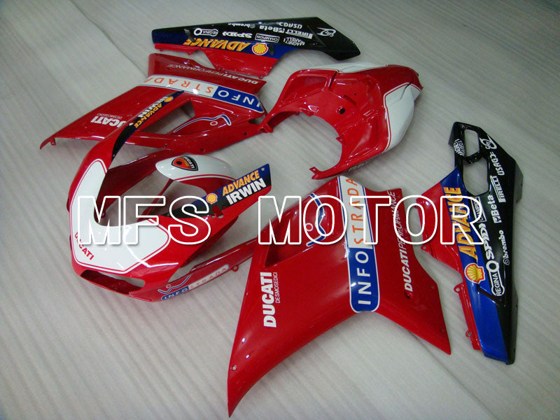 Injection ABS Fairing For Ducati 848 / 1098 / 1198 2007-2011 - INFO STRADA - Rød Hvit - MFS4123 - Shopping og engros