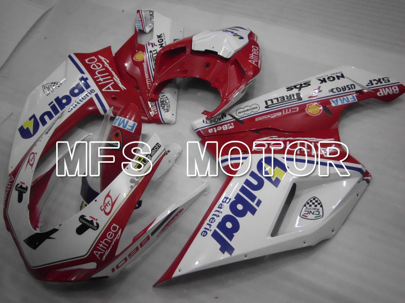 Injection ABS Fairing For Ducati 848 / 1098 / 1198 2007-2011 - Unibat - Rød Hvit - MFS4145 - Shopping og engros