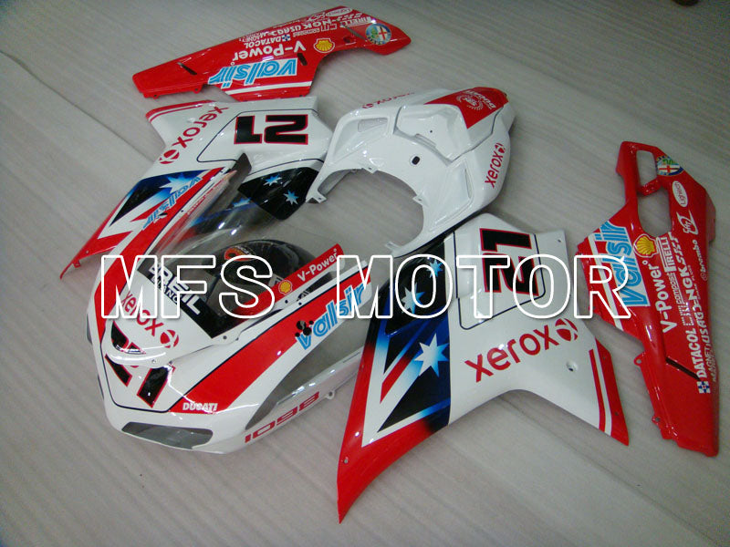 Injection ABS Fairing For Ducati 848 / 1098 / 1198 2007-2011 - Xerox - Rødhvitt - MFS4146 - shopping og engros