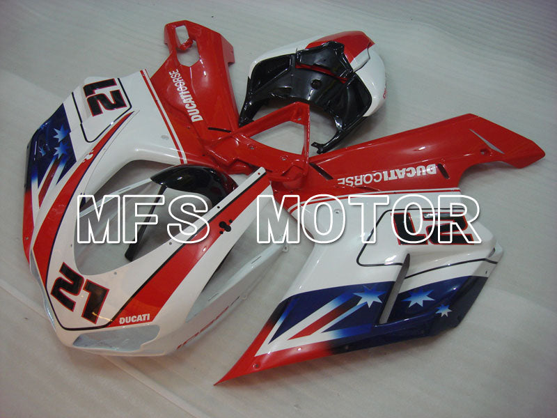 Injection ABS Fairing For Ducati 848 / 1098 / 1198 2007-2011 - Andre - Rød Hvit - MFS4154 - Shopping og engros