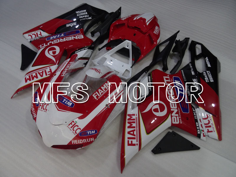 Injection ABS Fairing For Ducati 848 / 1098 / 1198 2007-2011 - FIAMM - Rød Hvit - MFS4180 - Shopping og engros