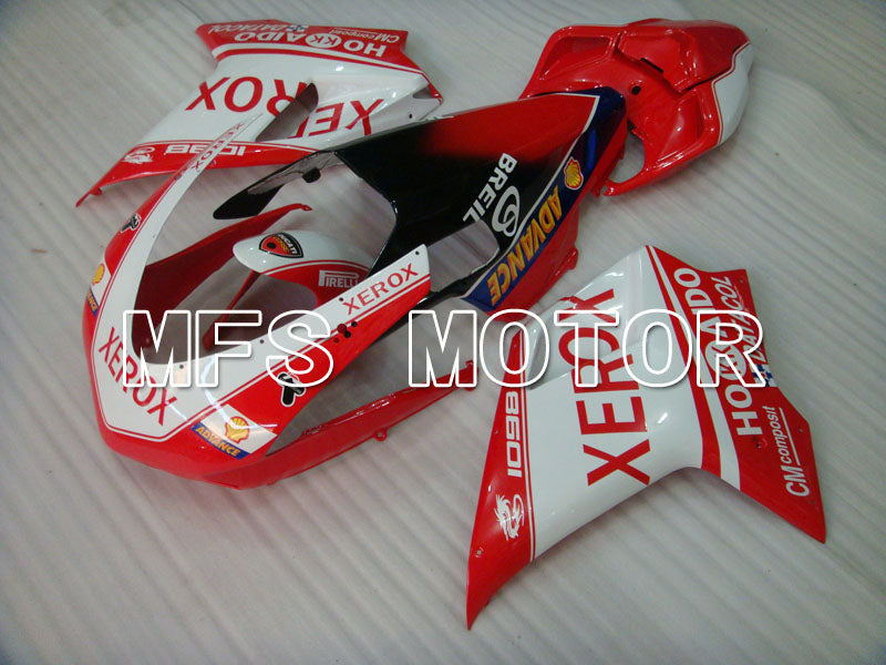 Injection ABS Fairing For Ducati 848 / 1098 / 1198 2007-2011 - Xerox - Rødhvitt - MFS4190 - shopping og engros