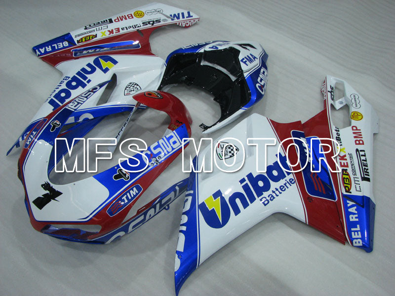 Injection ABS Fairing For Ducati 848 / 1098 / 1198 2007-2011 - Unibat - Rødvin Farge Hvit - MFS4197 - Shopping og engros