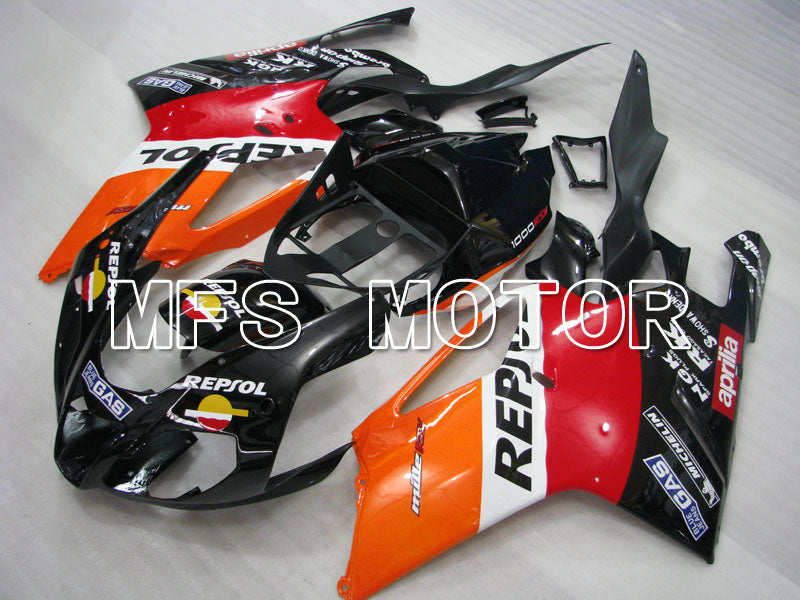 ABS Fairing For Aprilia RSV 1000 R 2003-2006 - Repsol - Svart Rød Orange - MFS4334 - Shopping og engros