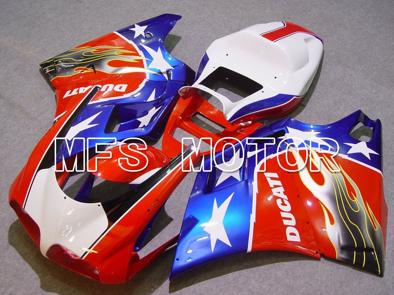 Injection ABS Fairing For Ducati 748 / 998 / 996 1994-2002 - Flamme - Blå Rød Hvit - MFS4560 - Shopping og engros