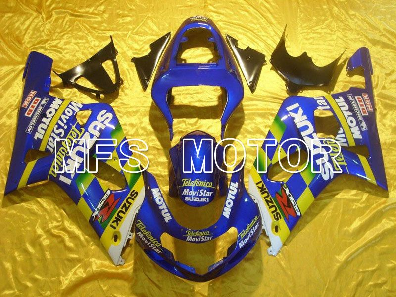 Carénage ABS d'injection pour Suzuki GSXR600 2001-2003 - Movistar - Jaune Bleu - MFS4570 - Shopping et gros