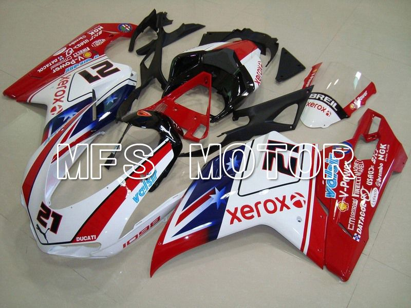 Injection ABS Fairing For Ducati 848 / 1098 / 1198 2007-2011 - Xerox - Rødhvitt - MFS4774 - shopping og engros