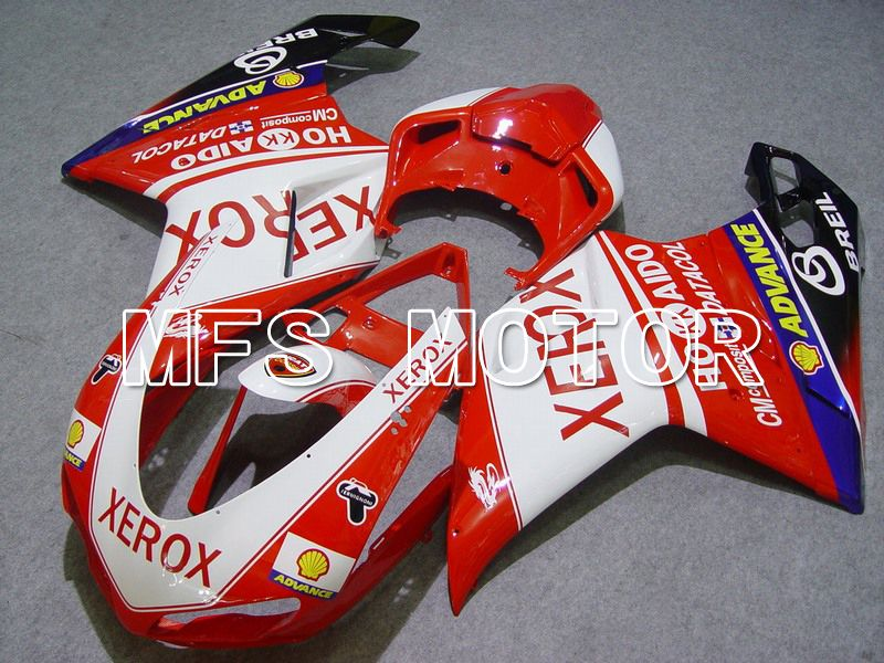 Injection ABS Fairing For Ducati 848 / 1098 / 1198 2007-2011 - Xerox - Rødhvitt - MFS4776 - shopping og engros