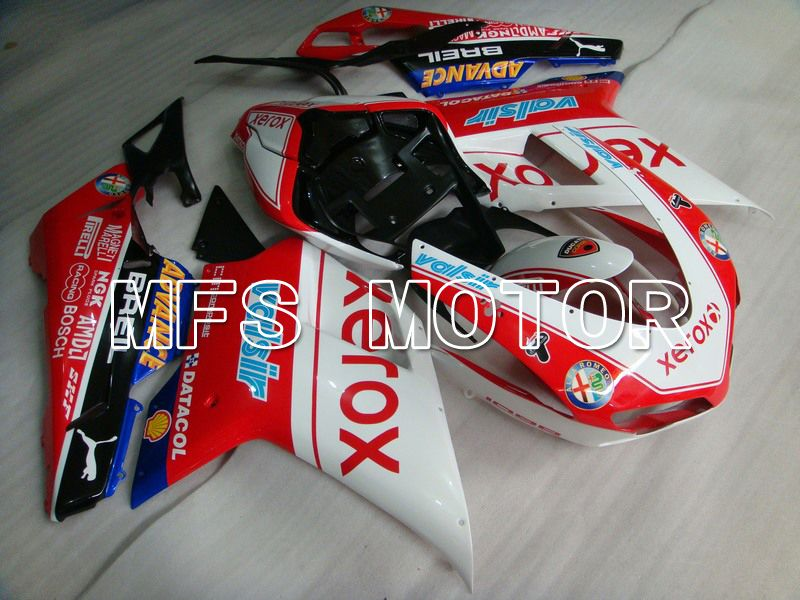 Injection ABS Fairing For Ducati 848 / 1098 / 1198 2007-2011 - Xerox - Rødhvitt - MFS4777 - shopping og engros