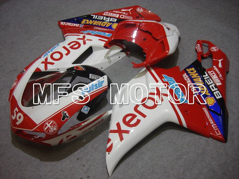 Injection ABS Fairing For Ducati 848 / 1098 / 1198 2007-2011 - Xerox - Rødhvitt - MFS4778 - shopping og engros