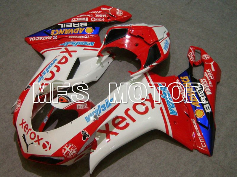 Injection ABS Fairing For Ducati 848 / 1098 / 1198 2007-2011 - Xerox - Rødhvitt - MFS4779 - shopping og engros