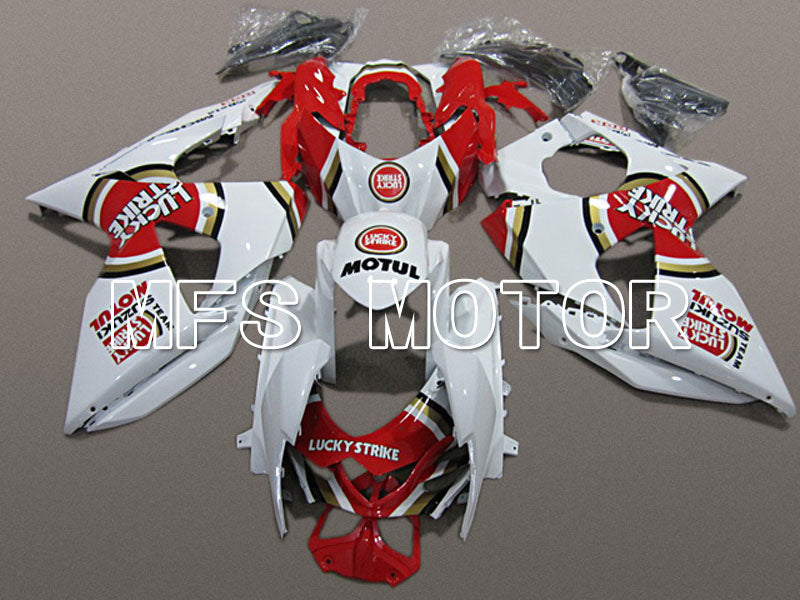 Carénage ABS d'injection pour Suzuki GSXR1000 2009-2016 - Lucky Strike - Blanc Rouge - MFS5781 - Shopping et gros