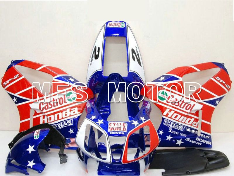 ABS Fairing For Honda VTR1000 RC51 2000-2006 - Castrol - Rød Blå - MFS6343 - Shopping og engros