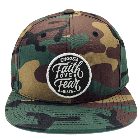 choose faith over fear risen apparel christian army camo snapback