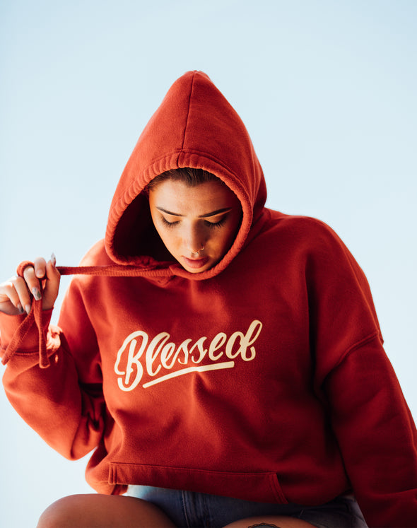 Blessed red brick pullover hoodie