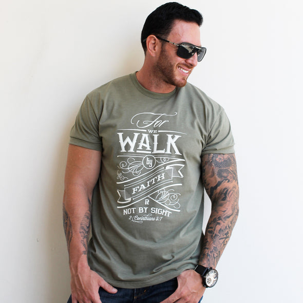 Walk by faith olive green Men's tee