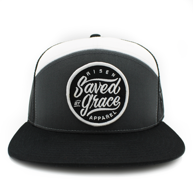 Gray/black/white Saved by Grace tucker hat