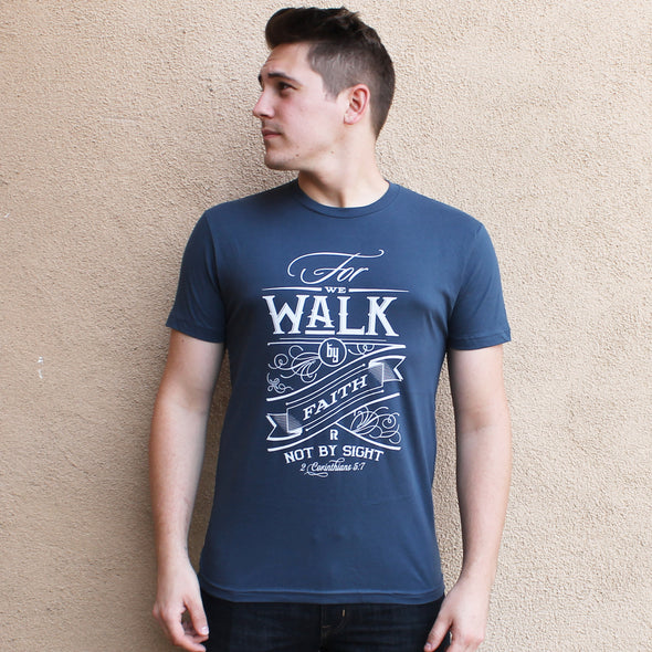 Walk by faith blue tee