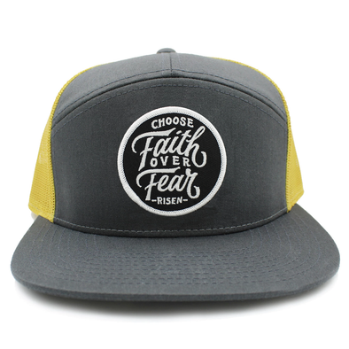 Choose faith over fear yellow and gray trucker hat