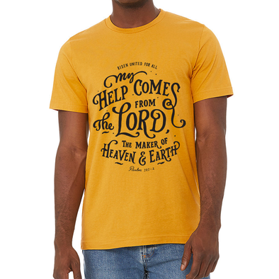 Design inspired from: My help comes from the LORD, the Maker of heaven and earth. Psalm 121:2 risen apparel christian t-shirt