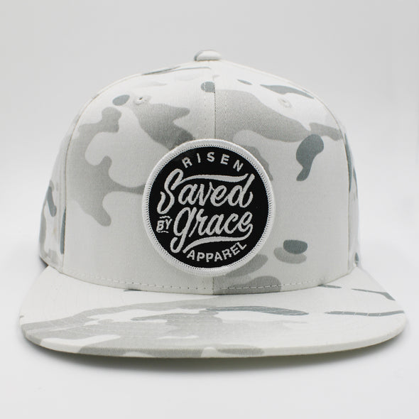 saved by grace risen apparel white army camo snapback