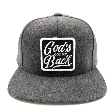 God's got my back black heather SnapBack