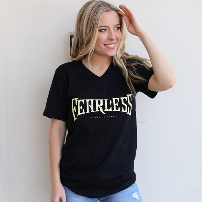 Fearless Vintage Black v neck Tee