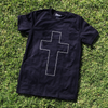 New white cross black tee shirt