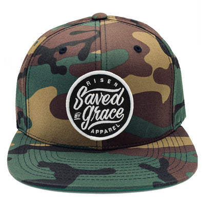 Saved by grace risen apparel christian snabpack camo army military hat