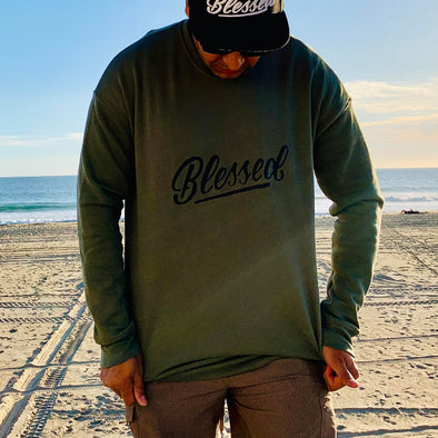 Blessed military green sweatshirt