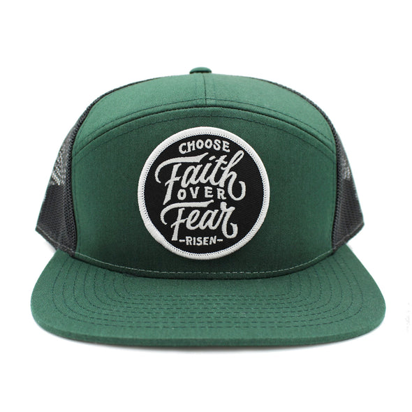 Choose faith over fear green 5 pannel snapback