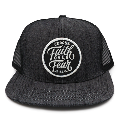 Choose faith over fear denim tucker hat