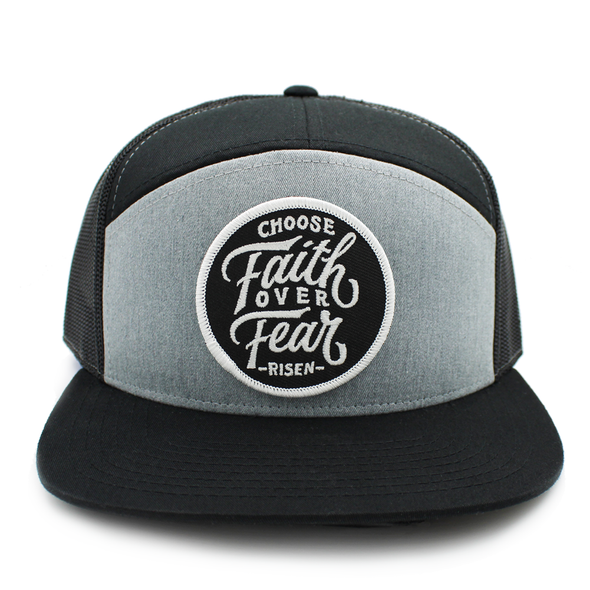 Choose faith over fear gray and black trucker hat