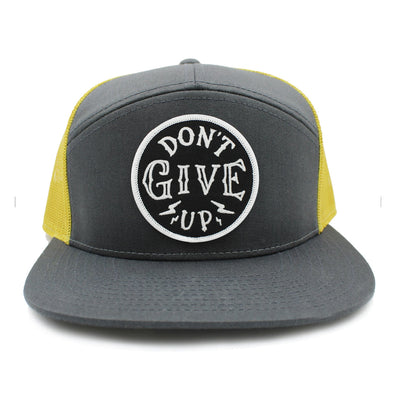 Don't give up yellow and gray trucker hat