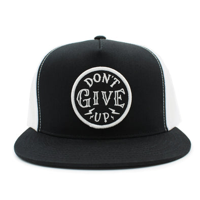 Don't give up black and white trucker hat