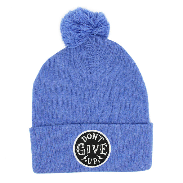 Dont give up risen apparel christian pom beanie blue unisex